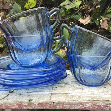 Blue depression glass cup and saucer, vintage Federal Glass Madrid blue tea cup and saucer set, vintage blue  glass tea cup set