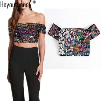 Heyouthoney 2018 spring women Multicolor sequined patchwork sexy off shoulder strapless party slash neck tank tshirt crop tops