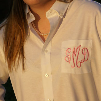 9 Monogrammed Button Down Shirts - Perfect for Brides and Bridesmaids
