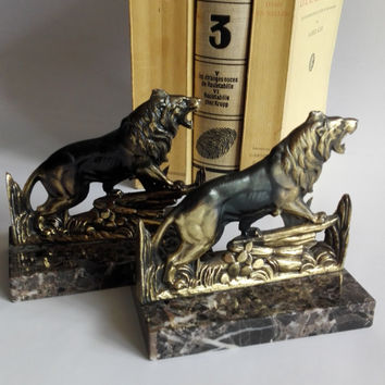 Bookends french vintage,Pattern Roaring lions.