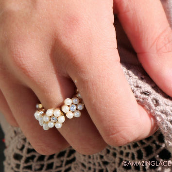 Gypsy Soul Floral Pearl Ring