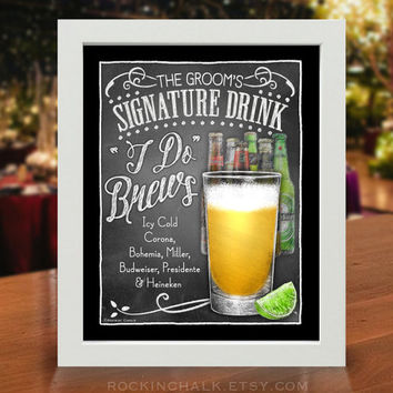 Beer Menu Sign | Custom Personalized Engagement, Bachelor Party, Rehearsal Dinner Reception Sign | I Do Brews
