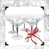 Set/5 Crystal Champagne Coupes, Belfor 'Exquisite' Black Core Stem