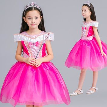 New Girls Movie Cosplay Dress Kids Costume Cartoon Fairy Cinderella Aurora Princess Dress Gown Party Performances Dresses