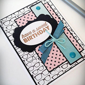 Handmade Happy Birthday Greeting Card, Great for a Woman, Girl, Girlfriend, Mother, Sister, Best Friend, Scrapbook Paper, Retro, Eyeglasses