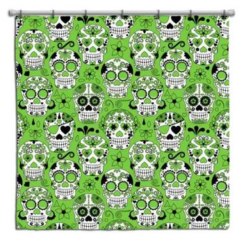 Green Sugar Skulls Shower Curtain from Extremely Stoked