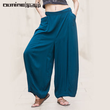 Outline Summer latest brand solid viscose plus size long casual elastic waist ladies palazzo pants fashion
