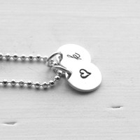 Small Initial Necklace with Heart, All Letters Available, k Necklace, Heart Necklace, Personalized Sterling Silver Jewelry, Charm Necklace