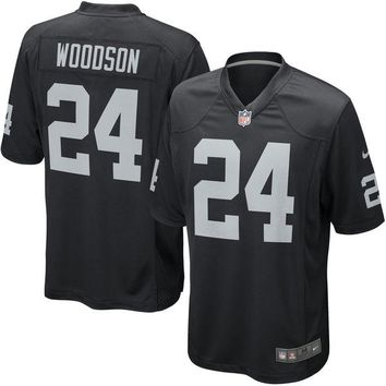 Mens Oakland Raiders Charles Woodson Nike Black Game Jersey