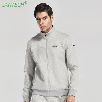 LANTECH Men Jacket Jogging Sports Sportswear Running Training Zipper Pocket Fitness Exercise Gym Jacket Clothes Long Sleeve