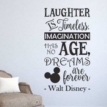 Laughter is timeless Imagination has no age Dreams are forever Walt Disney wall quote sticker Kids family