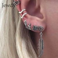 6 PCS Boho Earrings Set Feather Buddha Owl Leaves Ancient Tibetan Silver Stud Earrings For Women New Vintage Beach Jewelry