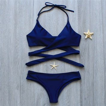 Melphieer Push Up Bikini Set 2017 Cross Navy Blue Solid Women Swimwear Swimsuit Sexy Halter Top Maillot Biquini Bathing Suit