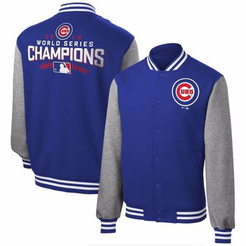2017 cardigans Autumn Winter Men 2016 World Series Champions Chicago Sweatshirts Cubs Lace-up National