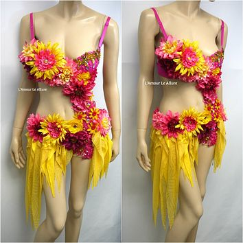 Pink and Yellow Starburst Floral Fairy Monokini Bra and Shorts Costume