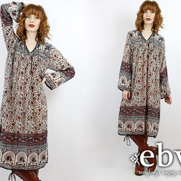 Vintage 70s Indian Cotton Midi Dress S M L Hippie Dress India Dress Indian Dress Hippy Dress Boho Dress Festival Dress Cotton Dress