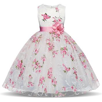 Retail Little Flower Girl Dresses Sweetheart Sleeveless First Communion Costume Girls Party Gowns Kids Princess Dress 4 6 8 10 Y