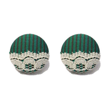 """Handmade """"Haunted Mansion Maid"""" Disneyland Inspired Haunted Mansion Fabric Button Earrings 3/4"""""""