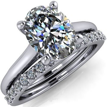 Willie Oval Moissanite Bow Under Cathedral Engagement Ring