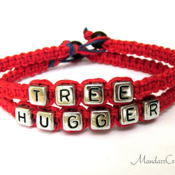 Tree Hugger Bracelets, Silver Tone Letter Beads, Hemp Jewelry for Nature Lovers