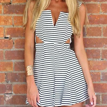 Black and White Pinstripe Sleeveless Skate Dress with Cut-Out Details