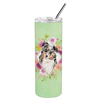 Australian Shepherd Green Flowers Double Walled Stainless Steel 20 oz Skinny Tumbler CK4427TBL20