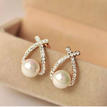 Jewelry Gold Crystal Stud Earrings Pearl