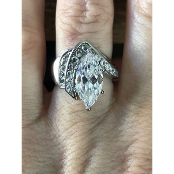 SALE   A Perfect 3.1CT Perfect Marquise Cut Russian Lab Diamond Promise Engagement Anniversary Ring