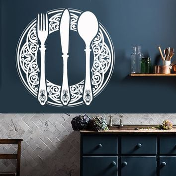 Vinyl Wall Decal Cutlery Dining Room Decoration Kitchen Restaurant Stickers Unique Gift (736ig)