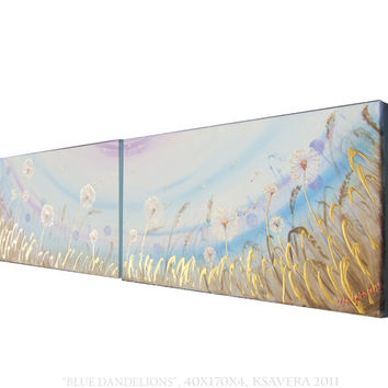 DANDELION Art Painting Landscape Long Blue Floral Painting on canvas Original Abstract Flowers Acrylic Contemporary sunset wall art meadow
