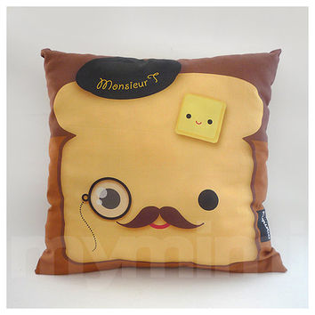 "12 x 12"" Decorative Pillow, Toast Pillow, French Toast, Breakfast, Mustache Pillow, Cotton Pillow, Throw Pillow, Kawaii Pillow, Kids Cushion"