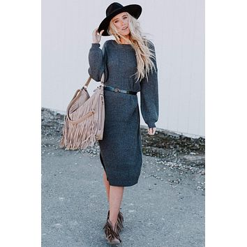 Everly Sweater Dress - Charcoal