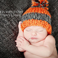Christmas in July Knit Striped Baby Boy Hat Orange Gray Photo Prop