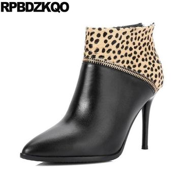 Leopard Print Fall Thin Designer Shoes Women Luxury 2017 Horsehair Real Leather Pointed Toe Booties Ankle High Heel Zipper Boots