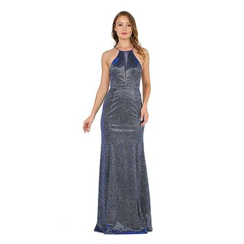 Royal Blue Long Prom Dress with Sheer Cut-Out Bodice