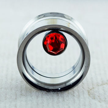 Bezel Set Red Gemstone on Internally Threaded Screw Fit Stainless Steel Double Flared Flesh Tunnel Ear Plug Saddle Plug