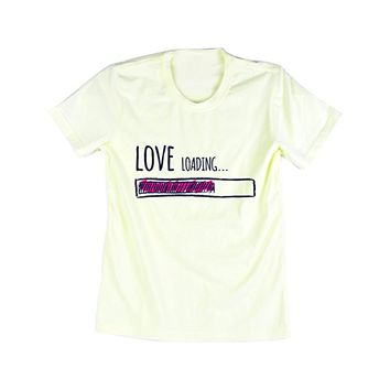 "Emeri Unisex Adult's ""Love Loading"" T Shirt Cream Pastel Color"