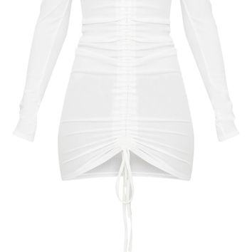 White Ribbed Long Sleeve Bardot Ruched Bodycon Dress
