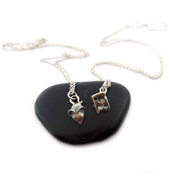 Cheese and Mouse Necklace - Sterling Silver Jewelry - Bestfriend Set