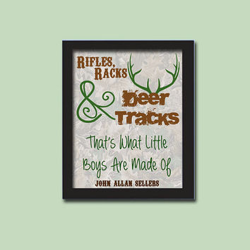 Personalized Nursery Art Print - New Baby Gift - Personalized Baby Boy Nursery Art - Camo - Camouflage - Rifles - Deer - Hunting