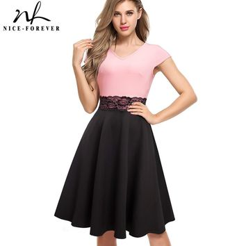 Nice-forever 1950's Vintage Colorblock Flower Lace Zipper Work Cap Sleeve A-Line Pinup Flare Women Dress