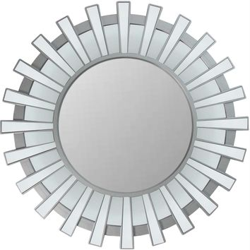 "25.5"" Sparkling Regal Sunburst Matte Silver Decorative Round Wall Mirror"