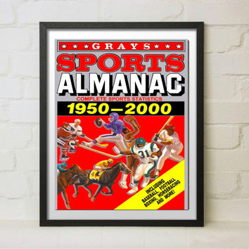 Back to the Future 2 Grays Sports Almanac Front Cover Custom Matted and Framed Movie Reproduction Prop McFly Delorean Hoverboard