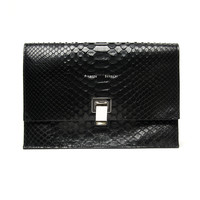 Proenza Schouler Matte Python Small Lunch Bag - Black Python Clutch - ShopBAZAAR