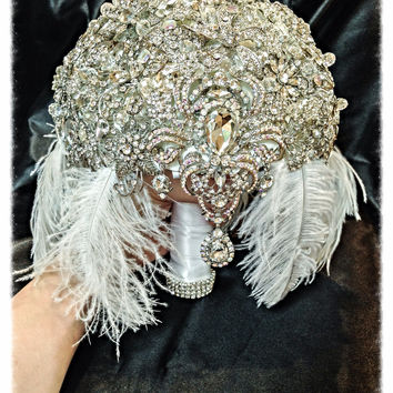The Great Gatsby Feather Crystal broach bouquet with dangling jewelry
