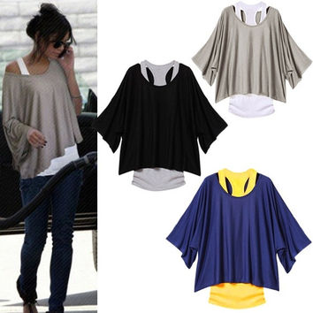 Women 2 in 1 Batwing Sleeve Loose T-shirt Sexy Off the Shoulder Vest Tops Shirt wishagoodwish = 1945689476