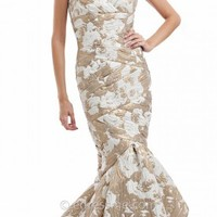 Jacquard Trumpet Evening Gown by JS Collections