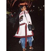 GUCCI Classic Fashionable Women Stripe Tiger Head Sequins Long Sleeve Cardigan Sweater Coat White
