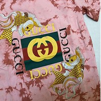 Gucci Popular Leisure New Embroidery Carp Meat Pink Tie-Dye Cotton T-Shirt Top
