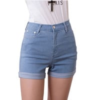 2015 New Women's Jeans Summer Style High Waist Stretch Denim Shorts Slim Korean Casual women Jeans Shorts Hot Plus Size J3126
